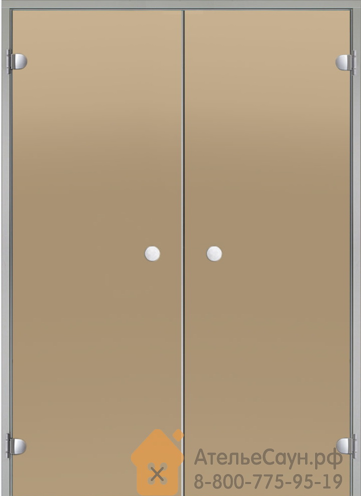 Дверь для турецкой парной Harvia 15х19 (двойная, бронза, коробка алюминий)