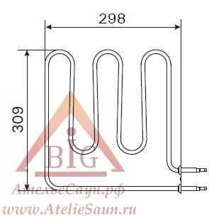 ТЭН Harvia ZSB-224 (1500 W, для печей Vega BC45, BC45E)