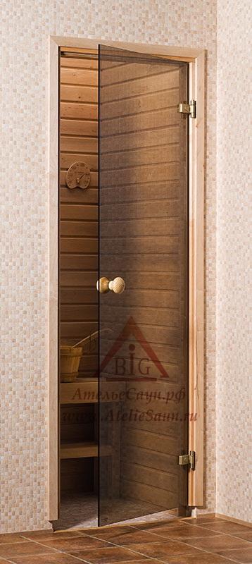 Дверь для сауны стеклянная 8х21 (бронза, коробка сосна)