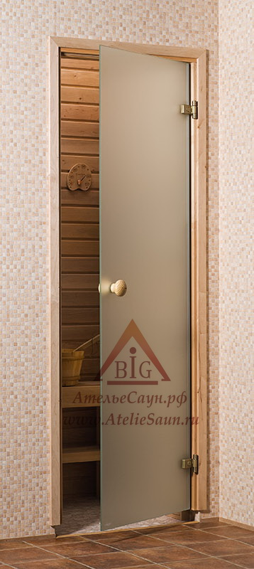 Дверь для сауны стеклянная 6х19 (сатин, коробка сосна)