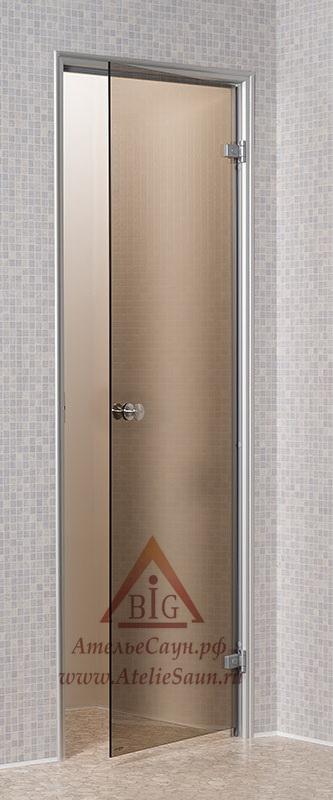 Дверь для турецкой парной Андрэс 7х19 (стеклянная, бронза, правая, коробка алюминий)