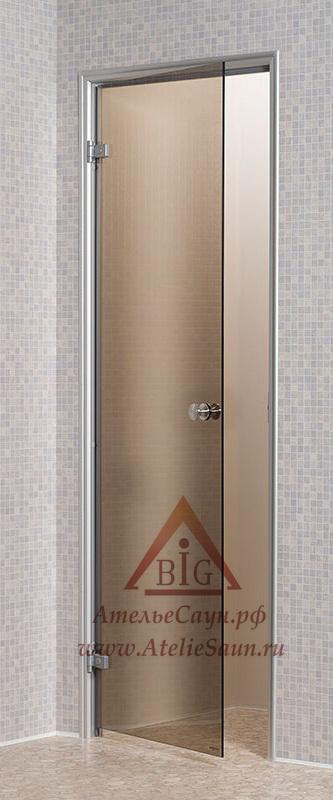 Дверь для турецкой парной Андрэс 7х19 (стеклянная, бронза, левая, коробка алюминий)