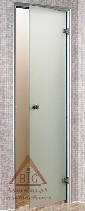 Дверь для турецкой парной Андрэс 7х19 (стеклянная, сатин, правая, коробка алюминий)