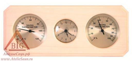 Термогигрометр с часами Sawo 260-ТНA (для предбанника)