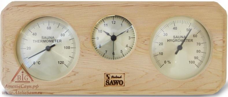 Термогигрометр с часами Sawo 260-ТНD (для предбанника)