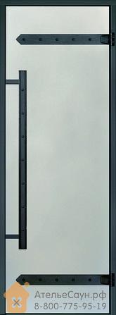 Дверь для сауны Harvia LEGEND 7х19 (стеклянная, сатин, черная коробка сосна), D71905МL