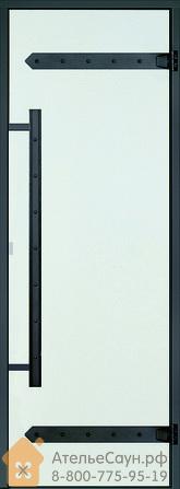 Дверь для сауны Harvia LEGEND 9х19 (прозрачная, черная коробка сосна), D91904МL