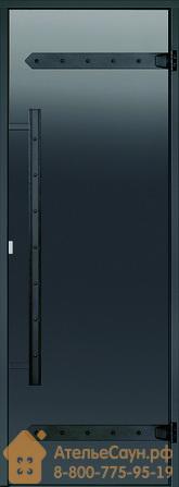 Дверь для хаммам Harvia LEGEND 8х21 (серая, черная коробка алюминий), DA82102L