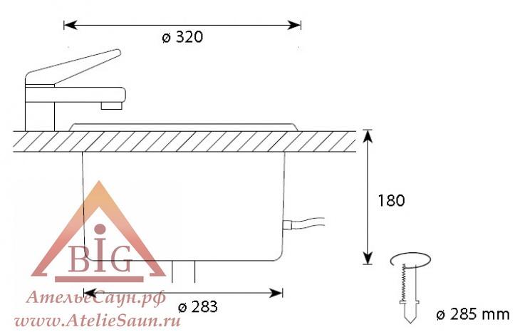 Шайка для сауны Cariitti IB 320 с клапаном (1545826, требуется 1 оптоволокно D=4 мм)