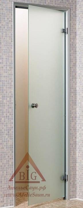 Дверь для турецкой парной Андрэс 7х20 (стеклянная, сатин, правая, коробка алюминий)