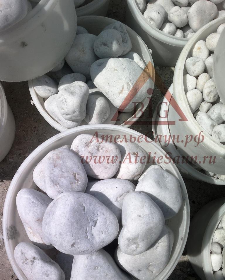 Белый кварц Княжеский овалованный (камни для бани), 15 кг