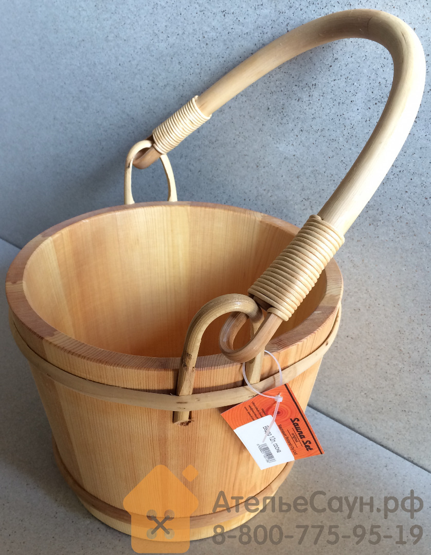 Ведро для бани SaunaSet №113 (12 л, сосна)