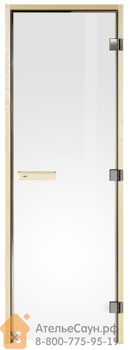 Дверь для сауны Tylo DGL 8x21 (прозрачная, осина, арт. 91031755)