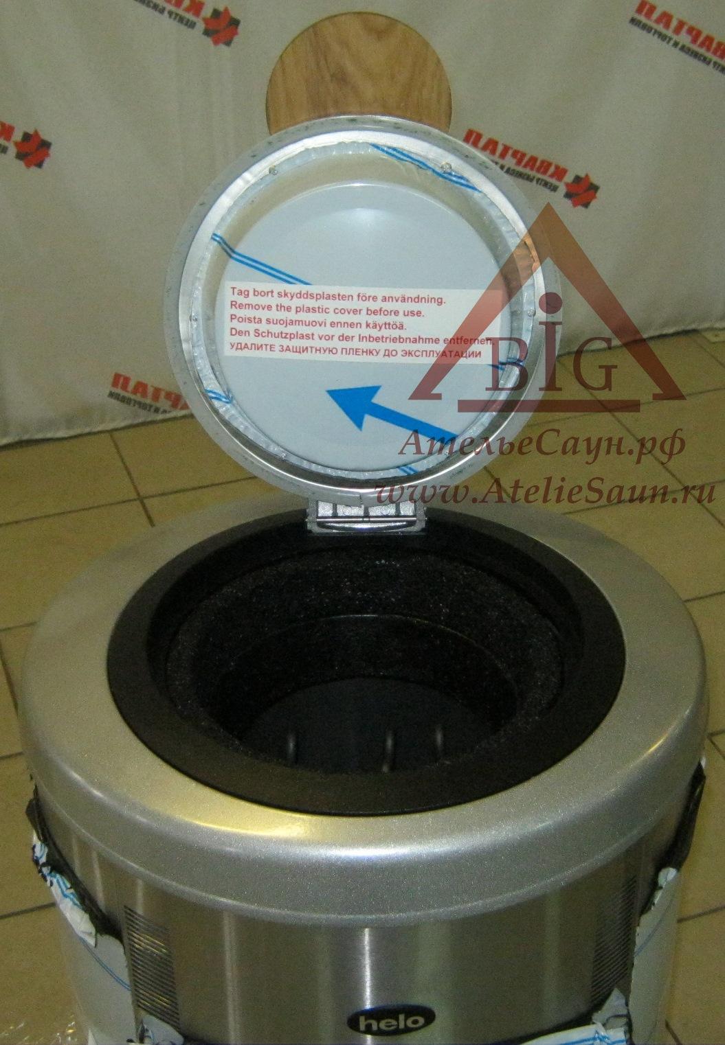 Печь-термос для сауны Helo Rondo 450 (матовая нерж. сталь, с пультом в комплекте)